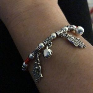 Jewelry - Red string adjustable bracelet with Hamsa & bells